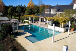 Coatsville pool with Desert Sage Hydrazzo - Natural sandstone paving